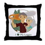 Love My Logger - Silver Throw Pillow