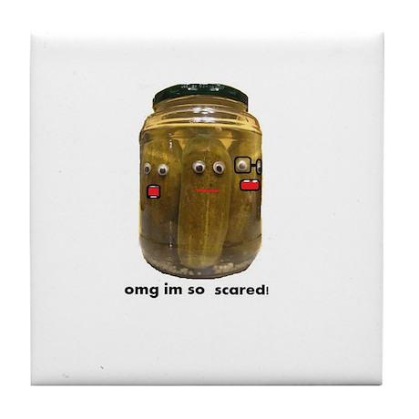 scared pickles Tile Coaster