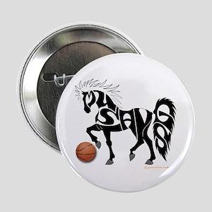 """Basketball Team Mustangs (Black Design) 2.25"""" Butt"""