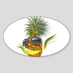 pineapple pineapples Oval Sticker