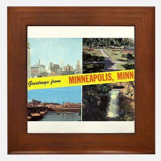 1950's Greetings From Minneapolis Framed Tile