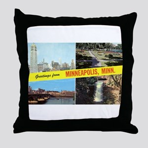 1950's Greetings From Minneapolis Throw Pillow