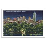 1946 Minneapolis Skyline at Night Large Poster