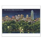 1946 Minneapolis Skyline at Night Small Poster