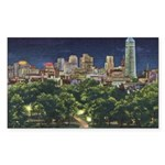 1946 Minneapolis Skyline at Night Sticker (Rectang