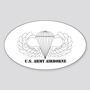 Clear Airborne Wings Oval Sticker