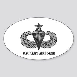 Senior Airborne Wings Oval Sticker
