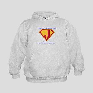 Jesus is My Super Hero Kids Hoodie