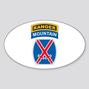10th Mountain Div with Ranger Oval Sticker