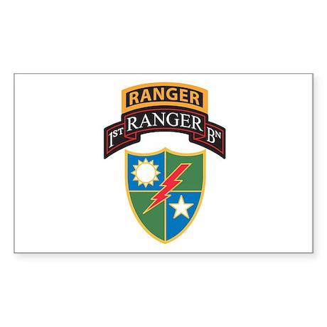 1st Ranger Bn with Ranger Tab Rectangle Sticker