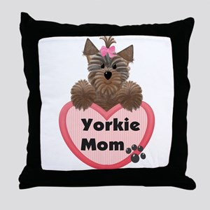 Yorkie Mom Throw Pillow