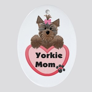 Yorkie Mom Oval Ornament