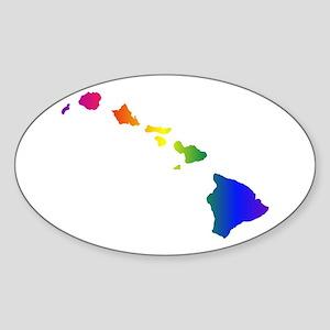 Rainbow Hawaii Oval Sticker
