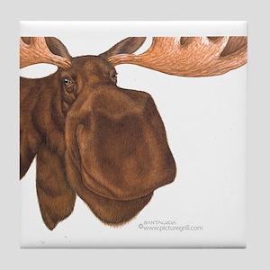 moose head antlers Tile Coaster
