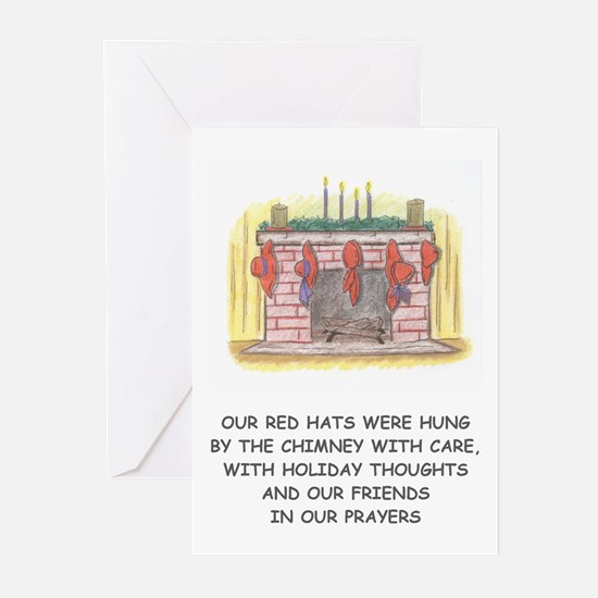 red hat christmas Greeting Cards (Pk of 10)