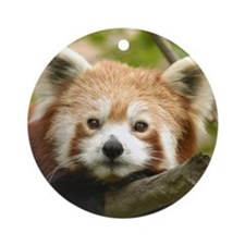 Red Chinese Panda Ornament (Round)