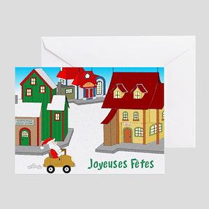 Downtown Santa - french Greeting Card