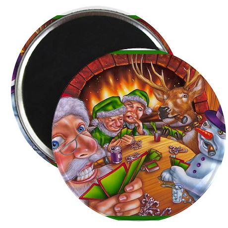 """Christmas poker game 2.25"""" Magnet (10 pack)"""