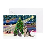 XmsMagic-GShep-2cats Greeting Card