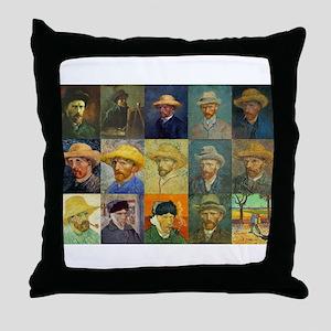 van Gogh Self Portraits Montage Throw Pillow