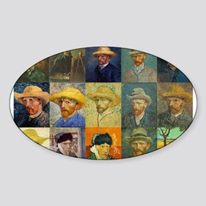 van Gogh Self Portraits Montage Oval Sticker