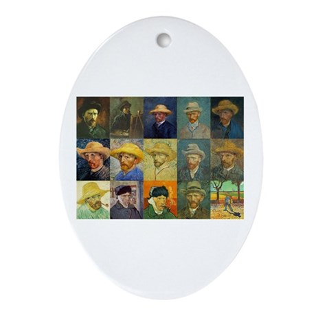 van Gogh Self Portraits Montage Oval Ornament