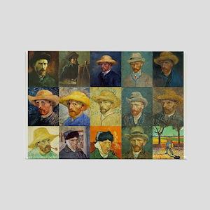 van Gogh Self Portraits Montage Rectangle Magnet
