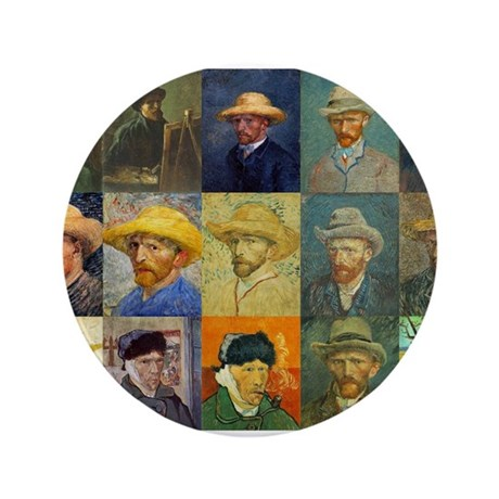 "van Gogh Self Portraits Montage 3.5"" Button"