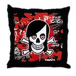 Emo Girl Skull Throw Pillow