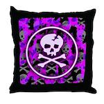 Deathrock Purple Skull Throw Pillow