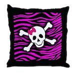 Pink Zebra Skull Throw Pillow