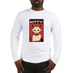 Obey the Kitty! White Cat - Long Sleeve T-Shirt