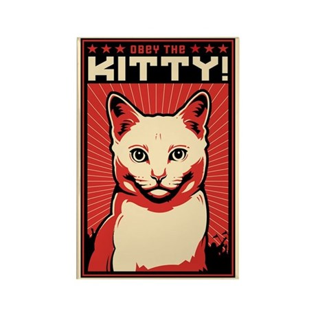 Obey the Kitty! WHITE CAT Magnet