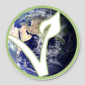 World is Vegan Logo Round Car Magnet