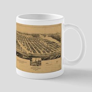 Vintage Pictorial Map of Asbury Park NJ (1881 Mugs
