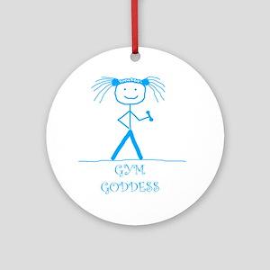 Gym Goddess (Blue): Ornament (Round)