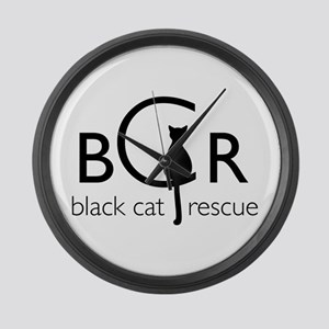 Black Cat Rescue Large Wall Clock
