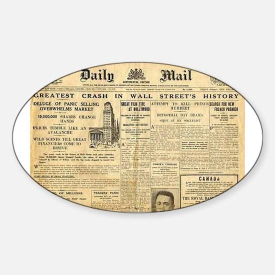 Wall Street Crash, 1929 Version Oval Decal