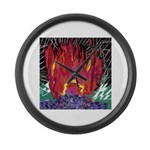 Fire on a Plane of Existence Large Wall Clock