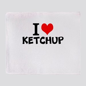 I Love Ketchup Throw Blanket