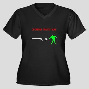"""Zombie Math 101"" Women's Plus Size V-Neck Dark T-"