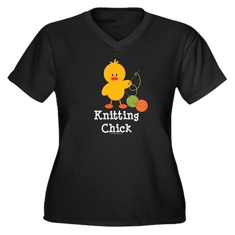 Knitting Chick Women's Plus Size V-Neck Dark T-Shi