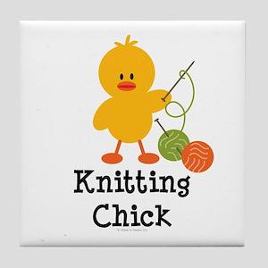 Knitting Chick Tile Coaster