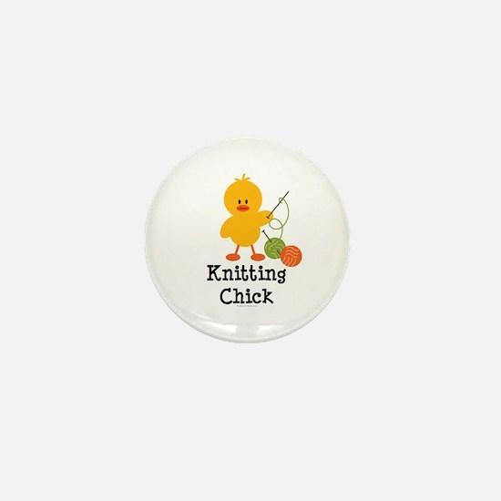 Knitting Chick Mini Button