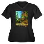 A new Path Women's Plus Size V-Neck Dark T-Shirt