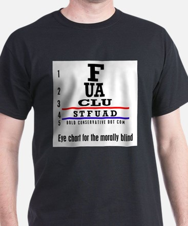 ACLU: Eye Chart morally blind Black T-Shirt