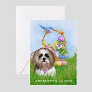 Shih Tzu Spring Bluebird Meiko Greeting Cards (Pac