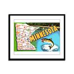 1940's Minnesota Map Framed Panel Print