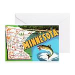 1940's Minnesota Map Greeting Cards (Pk of 10)