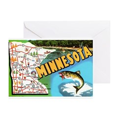 1940's Minnesota Map Greeting Cards (Pk of 20)